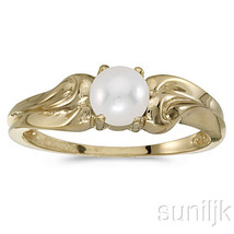 10K Yellow Gold Genuine Pearl Ring - $182.29