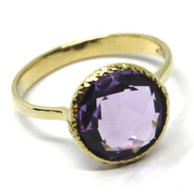 SOLID 18K YELLOW GOLD RING, CENTRAL CUSHION ROUND PURPLE AMETHYST, DIAMETER 10mm image 1