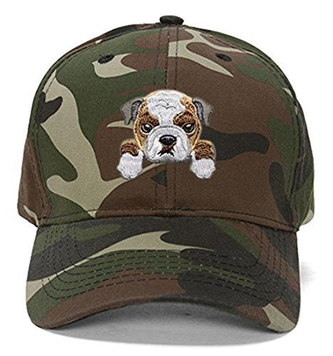 Bulldog Hat Cute Puppy Dog Face Adjustable Cap (Camo)