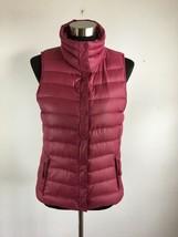 Gap Womens Vest S Small Purple Red Down Puffer Full Zip Lightweight Pack... - $39.59
