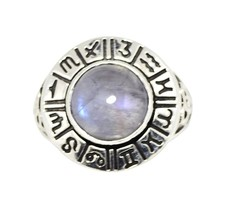 Religious Symbol Vintage Rainbow Moonstone 925Sterling Silver Ring Sz-7 ... - £11.52 GBP