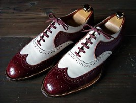 Handmade Men's Maroon and White Wing Tip Brogues Style Dress/Formal Oxford S image 2