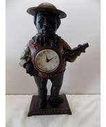 Vintage Black Americana Cast Iron Bank Figure Clock Banjo Player  - $61.71