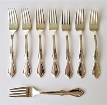 "vintage INTERNATIONAL S. Co XI Flatware Silverplate 8pc FORKS 7"" - $38.95"