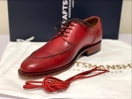 Handmade Men's Red Leather Lace Up Oxford Dress/Formal Shoes image 4