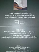 TWIN Sized 400 TC Striped Performance Sheet Set White Beige Threshold Sealed. image 6