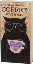 "Primitives by Kathy Block Sign Good Days Start with Coffee and A Cat 3"" ... - $8.00"