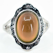 Vintage Inspired Silver & Black Crystal Accent Color Changing Cabochon Mood Ring