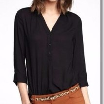 Express Women's (minus the) Leather Trim Half Placket Shirt Black Large ... - $44.50