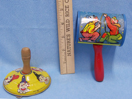 Vintage Metal Toy Noise Maker Tin With  Wood Handle Clown Balloon Lot of 2 - $15.83