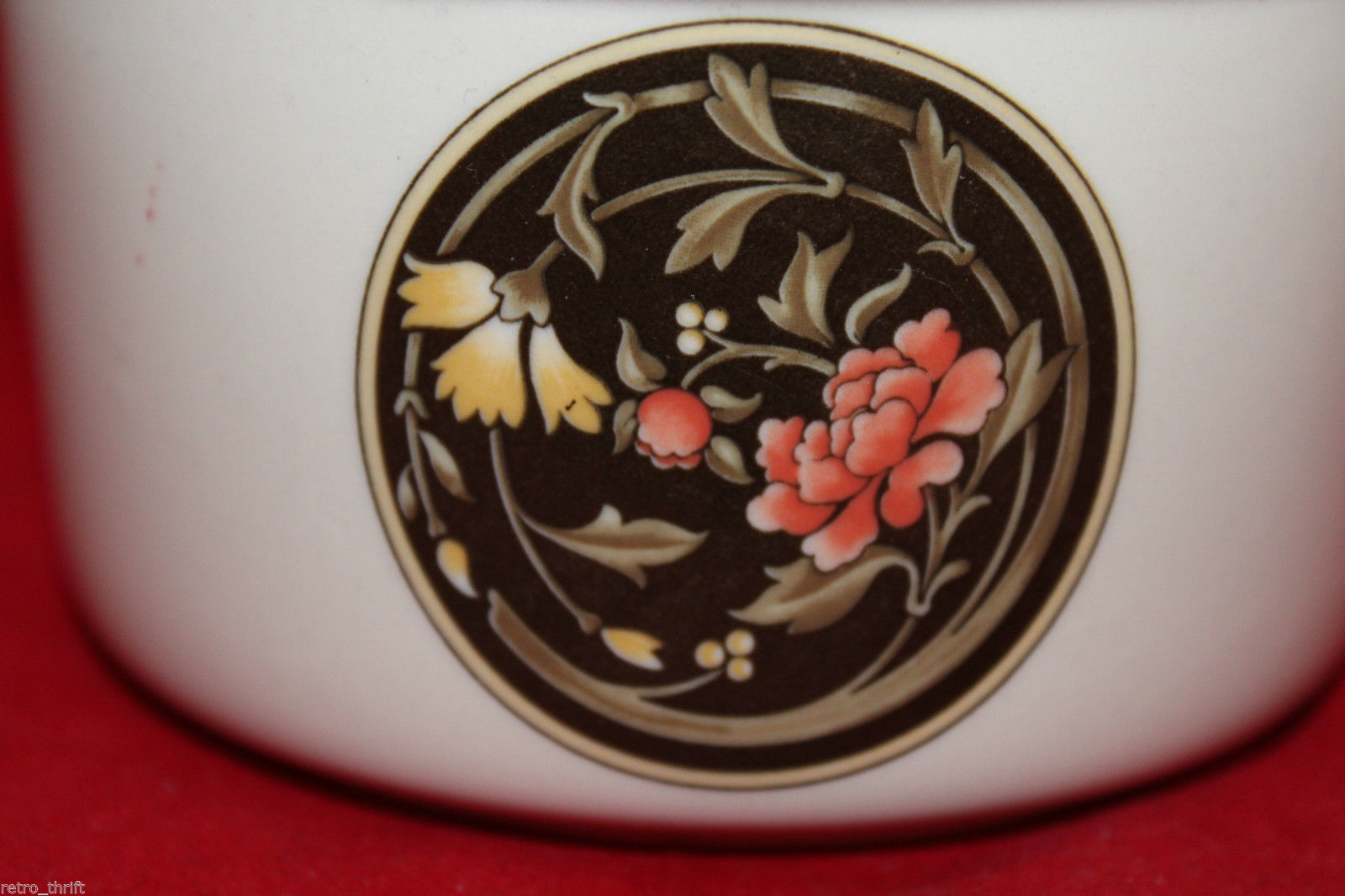 Vintage Wedgwood Mikado Open Sugar Bowl Brown Yellow Pink Flowers England Oven image 5