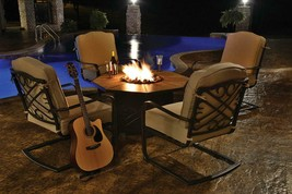 Northlight 5 Harmony Cast Aluminum Patio Chair Gas Fire Pit Furniture Se... - $2,676.70