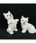 West Highland White Terrier Westie Figurines Ceramic M Takai Set of 2 Vi... - $59.39