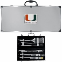 miami hurricanes 8 pc tailgater stainless steel bbq set with metal case - $126.34