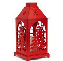 """Melrose 13.5"""" Distressed Red Christmas Tree Design Candle Lantern LED Ca... - $43.30"""