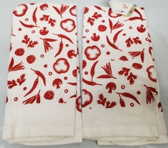 "2 Same Printed Kitchen Towels (15"" X 25"") Red Vegetables On White By Am - $10.88"