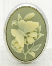 VTG TRIFARI Signed Silver Tone Green Floral Butterfly Brooch Pin - $29.70