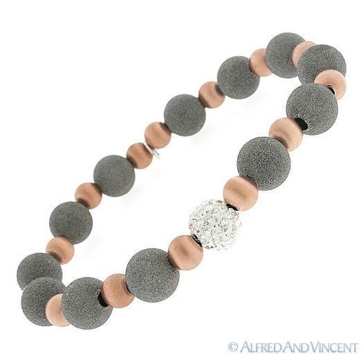 Primary image for .925 Italy Sterling Silver Matte-Finish Bead & CZ Crystal Ball Stretch Bracelet