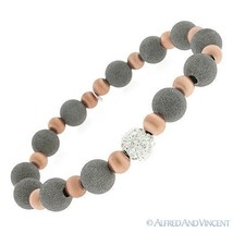 .925 Italy Sterling Silver Matte-Finish Bead & CZ Crystal Ball Stretch Bracelet - $105.94