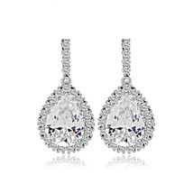 Cubic Zirconia Wedding Big Drop Dangle Earrings for Women Silver Tone Br... - $12.86