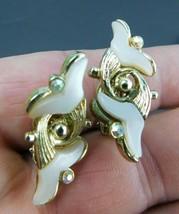 VTG Clip-On Earrings Gold Tone Swirled Tulips Rhinestone  Mid Century Ar... - $14.69