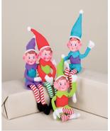 "GERSON 10"" BENDABLE FABRIC FESTIVE PIXIE ELF CHRISTMAS ORNAMENT SET OF 4 - $29.88"