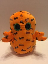 "Ghoulie Ty Beannie Boo's Orange W/Large Green Eyes Plush Toy Scarey Cute 9"" - £5.55 GBP"