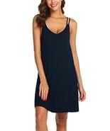 Ekouaer Striped Cotton Nightwear Sexy Nightgown for Women,S-navy,X-Large - $20.22