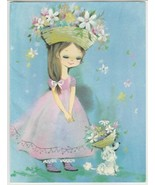 Vintage Greeting Card Girl and Poodle in Flowered Hats 1960's Sunshine - $10.88
