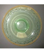 Green Uranium Vaseline Glass Console Bowl ENGRAVED Cattails Rolled Edge ... - $39.55