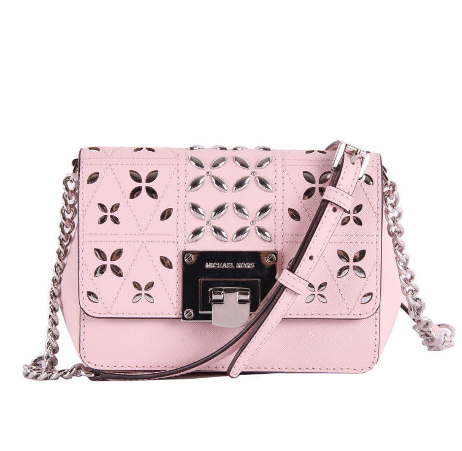 Primary image for Michael Kors Tina womens small CLUTCH BAG crossbod stud floral Pink NWT