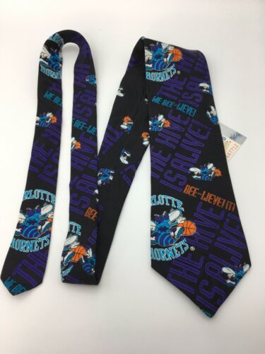 Vintage Ralph Marlin Mens Neck Tie Charlotte Hornets Basketball Unworn w tag  image 1