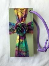 Purple, Green, & Yellow Batik Cross on Stained Light Green Pine Wood - $18.50