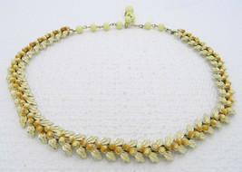 VTG Gold Tone CORO Yellow Enamel Floral Choker Necklace Choker - $29.70