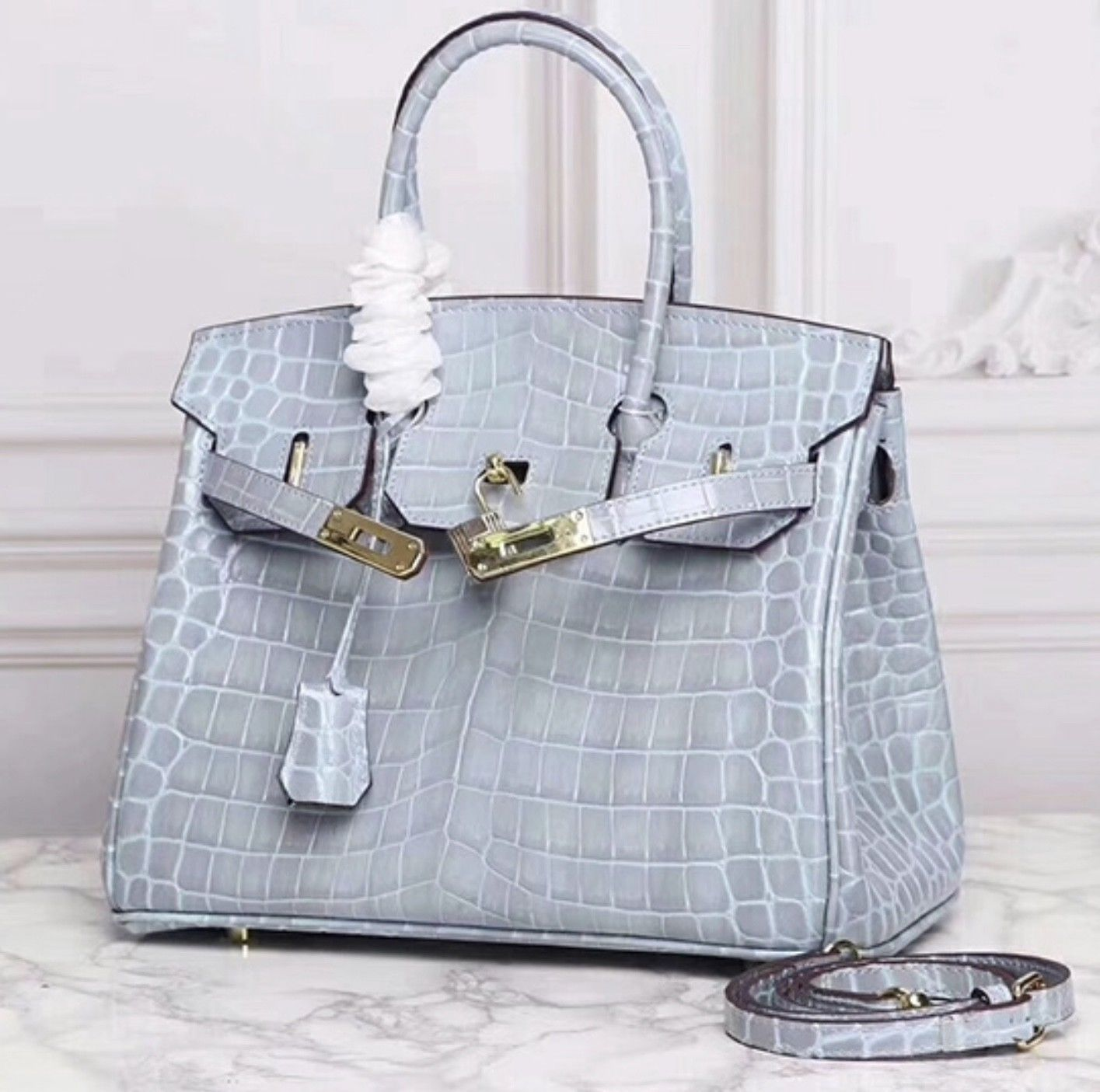 25cm Crocodile Embossed Italian Leather Lock and Key Celebrity Satchel Handbag