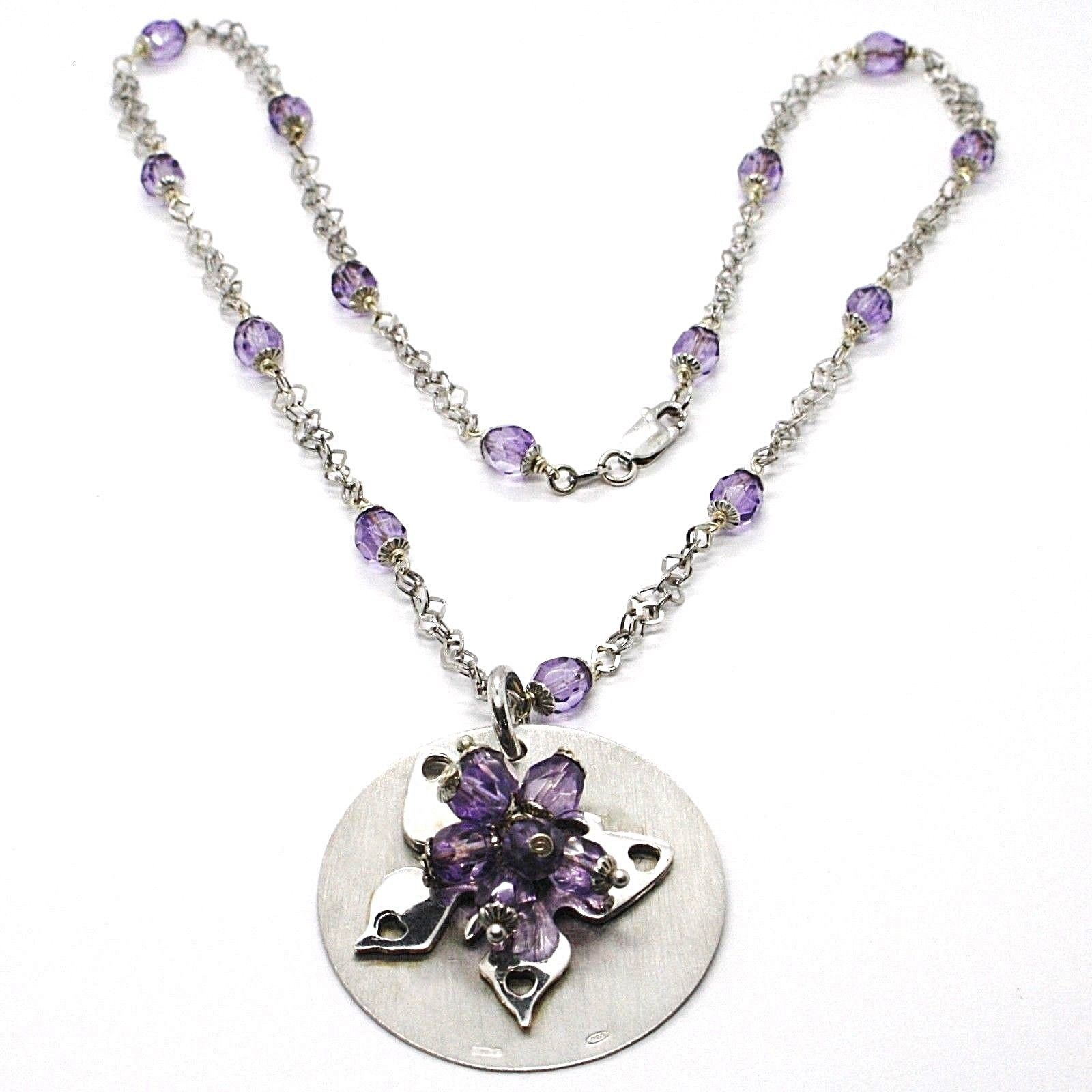 Silver necklace 925, Disk Pendant, Butterfly Overlay Purple balls