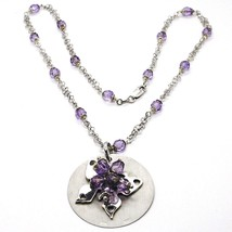 Silver necklace 925, Disk Pendant, Butterfly Overlay Purple balls image 1