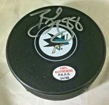 BRENT BURNS / SAN JOSE SHARKS / AUTOGRAPHED SHARKS LOGO NHL HOCKEY PUCK / COA image 1