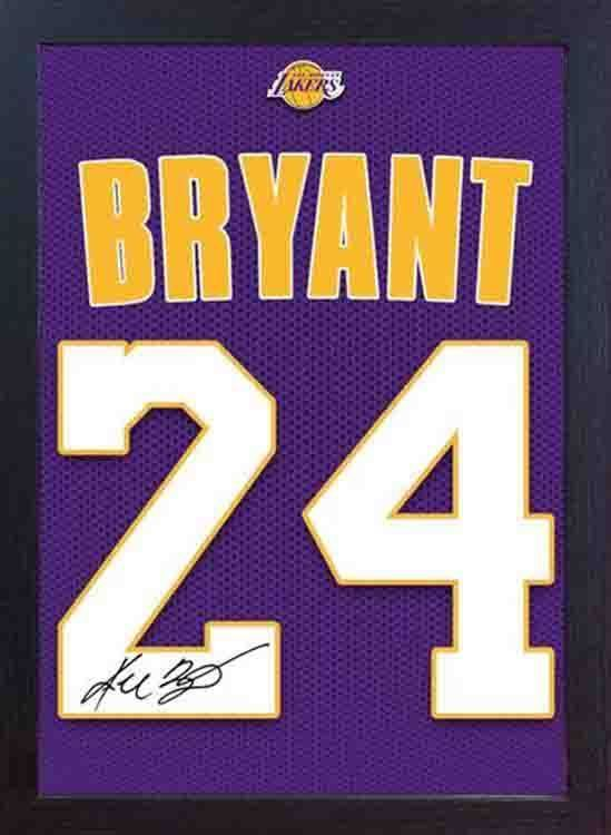 Kobe Bryant LA Lakers NBA signed autograph JERSEY T-SHIRT 100% canvas Framed #02
