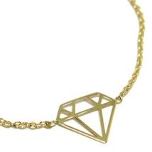 18K YELLOW GOLD ROLO MINI BRACELET, 7.3 INCHES, OPENWORK FLAT DIAMOND ITALY MADE image 2