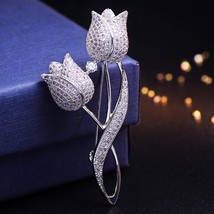 1 Pcs Silver color Tulip Flower CZ Brooch Pin Elegant Rose Flower Cubic ... - $23.83