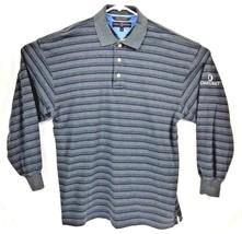 Tommy Hilfiger Polo Golf Men's M L/S Gray Blue Strip Shirt Oakhurst Cour... - $17.56