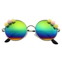 Fiore Occhiali da Sole Hippie Boho Festival Cerchio Occhiali da Sole Rotondi - $11.46