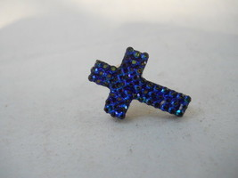 Blue Crystal Cross Pin Brooch Pin Hat Pin with reflections Fashion Jewelry - $4.95