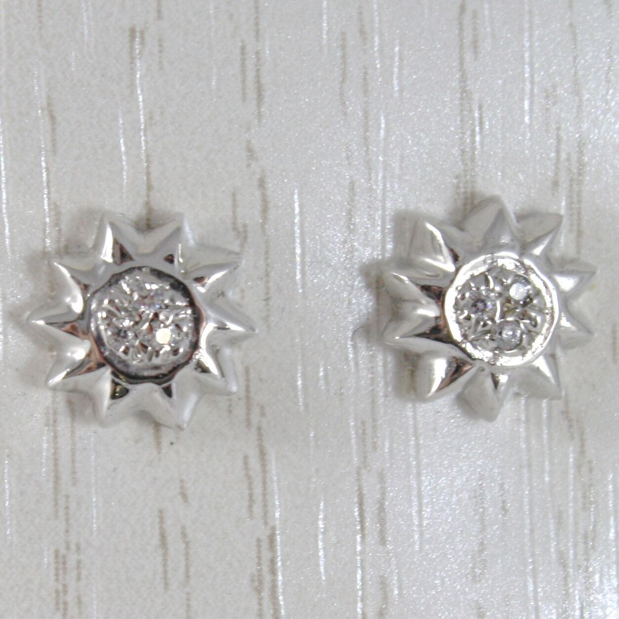 WHITE GOLD EARRINGS 750 18K LOBE, WITH SUN AND ZIRCON, WIDE 9 MM
