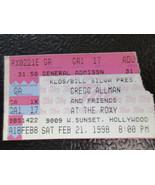Gregg Allman ticket stub Roxy l.A.Feb 21,1998 - $18.57