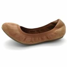 Lands End Womens Comfort Elastic Ballet Flat Shoes Brown Leather Slip Ons 7D - $29.69