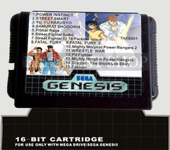 Super Retro Game 15 In 1 MD Multi Game Card 16 Bit For Sega Mega Drive G... - $9.99