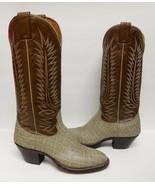 NOCONA Leather Boots Cowboy Western Elephant Look Print Brown Gray VTG N... - $159.95