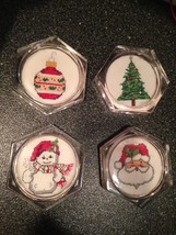 Set of 4 Embroidered Holiday Coasters Santa Snowman Christmas Tree Ornam... - $18.99